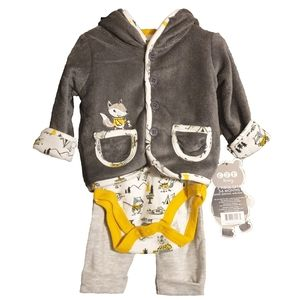NWT Forest Animal Bear Fox Otter 3 Piece Outfit
